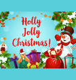 snowman and gift greeting card of new year holiday vector image vector image