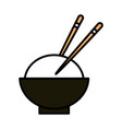 sushi oriental menu bowl rice with chopsticks line vector image