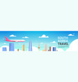 travel to south korea poster plane fly over seoul vector image