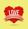 valentines day red rose heart shape and ribbon vector image vector image
