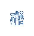 volunteer hands line icon concept volunteer hands vector image