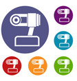 webcam icons set vector image vector image