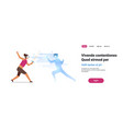woman fencer wear digital glasses fighting with vector image