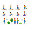 women character planting vegetable and tree vector image