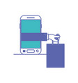 smartphone with hand holding shopping bag of vector image