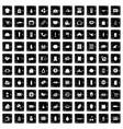 100 supermarket icons set grunge style vector image