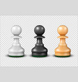 3d realistic white black and wooden pawn vector image vector image