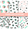 abstract memphis style seamless pattern set vector image