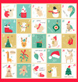 advent christmas calendar with elements vector image vector image
