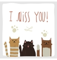 artoon flat I Miss You postcard with funny cats vector image