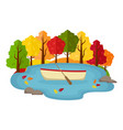 autumn landscape boat in a pond in the autumn vector image vector image