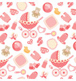 baby girl pattern on pink vector image vector image