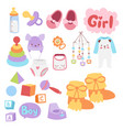 baby toys icons cartoon family kid toyshop design vector image