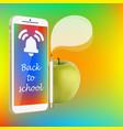 back to school smartphone green apple pencil vector image vector image