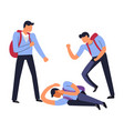 bully hooligans beating physically weak fellow vector image vector image