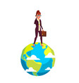 businesswoman walking on planet with briefcase in vector image