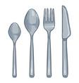 cartoon color set steel cutlery knife fork vector image vector image