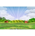 Cartoon farm green seeding field vector image vector image