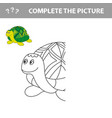 cartoon turtle outlined vector image vector image