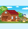 children playing outside with dog vector image
