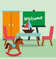 classroom kinder rocking horse sailboat chalkboard vector image