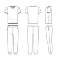 clothing set of t-shirt and sweatpants vector image vector image