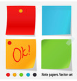 Colored note papers set vector image