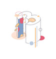 colored with pastel colors isometric number three vector image vector image