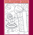 coloring book princess girl with a birthday gift vector image vector image