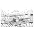 countryside engraving vintage landscape sketch vector image