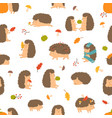 cute cartoon funny hedgehogs seamless pattern vector image