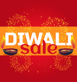 diwali sale celebration background with diya and vector image