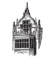 elizabethian window in rushton hall vintage vector image vector image