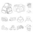 family holiday outline icons in set collection for vector image vector image