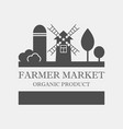 farmer market concept logo template with farm vector image vector image
