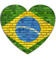 flag of brazil on a brick wall in heart shape vector image vector image