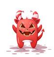 funny cute crazy devil pumpkin character vector image