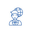 global businessman line icon concept global vector image vector image