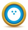 Gold bowling icon vector image