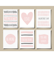 hand drawn valentines day greeting cards set vector image vector image