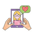 hands holding smartphone with woman talking love vector image vector image