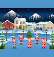 happy children singing christmas carols in winter vector image vector image
