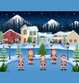 happy children singing christmas carols in winter vector image