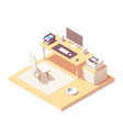 isometric office room vector image vector image
