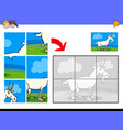 jigsaw puzzles with goat animal character vector image vector image