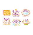 kids menu organic food labels set hand drawn vector image vector image