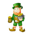 leprechaun with beer for saint vector image