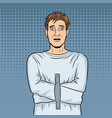 man in straitjacket pop art vector image vector image