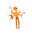 multitasking firefighter character male fireman vector image