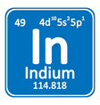 periodic table element indium icon vector image vector image